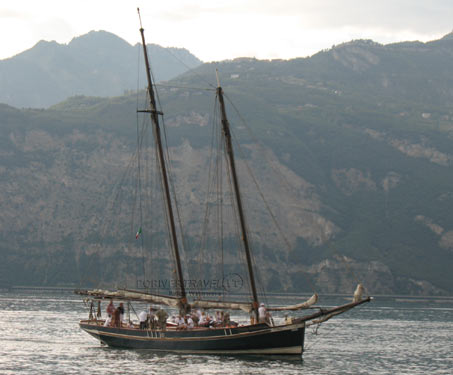 Sailing ship on Garda lake